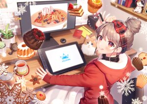 Rating: Safe Score: 28 Tags: aliasing animal blush brown_hair cake cat christmas computer drink food fruit headband huion momoshiki_tsubaki orange_(fruit) original red_eyes strawberry User: BattlequeenYume