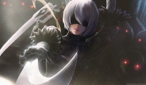 Rating: Safe Score: 231 Tags: blindfold breasts gray_hair limgae nier nier:_automata realistic short_hair watermark weapon yorha_unit_no._2_type_b User: BattlequeenYume