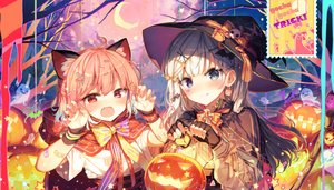 Rating: Safe Score: 64 Tags: 2girls animal_ears bicolored_eyes blush bow cape fan fang gloves halloween hat hoodie moon original pumpkin red_eyes shinoba short_hair white_hair witch_hat wristwear User: RyuZU