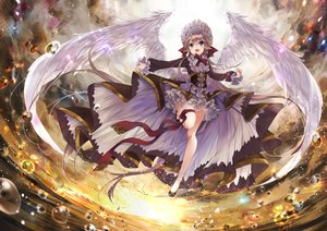 Rating: Safe Score: 94 Tags: brown_hair clouds feathers garter green_eyes headdress lolita_fashion long_hair original pointed_ears sky sunset umi_no_mizu water wings User: BattlequeenYume