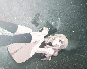 Rating: Safe Score: 34 Tags: blonde_hair blue_eyes gun mireille_bouquet noir nopan rain skirt water weapon User: Oyashiro-sama