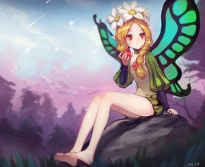 Rating: Safe Score: 124 Tags: apple barefoot blonde_hair braids cropped fairy flowers food fruit long_hair mercedes meto31 odin_sphere pointed_ears red_eyes signed twintails wings User: Flandre93