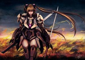 Rating: Safe Score: 87 Tags: brown_hair katana mechagirl original red_eyes shou_mai sword twintails weapon User: FormX