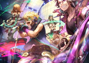 Rating: Safe Score: 9 Tags: aqua_hair blonde_hair dearrose drums elbow_gloves glasses gloves gray_hair group guitar hat headphones instrument long_hair magic male merc_storia microphone necklace orange_hair purple_eyes red_eyes short_hair shorts tagme_(character) thighhighs yellow_eyes User: RyuZU
