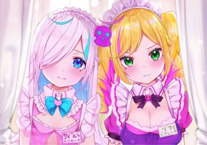 Rating: Safe Score: 50 Tags: 2girls aqua_eyes blonde_hair blush bow braids breasts cleavage flat_chest green_eyes headdress ilu_fluor lif_prase long_hair maid pink_hair rouka_(akatyann) tattoo third-party_edit twintails User: otaku_emmy