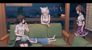 Rating: Safe Score: 48 Tags: animal_ears barefoot cirno couch dress drink group himekaidou_hatate inubashiri_momiji night pointed_ears roke_(taikodon) shameimaru_aya sleeping touhou wolfgirl User: gnarf1975