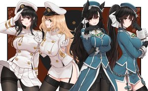 Rating: Safe Score: 151 Tags: animal_ears anthropomorphism atago_(azur_lane) atago_(kancolle) azur_lane black_hair blonde_hair breasts brown_eyes cosplay crossover dishwasher1910 garter_belt gloves green_eyes kantai_collection long_hair pantyhose ponytail red_eyes takao_(azur_lane) takao_(kancolle) thighhighs uniform User: BattlequeenYume