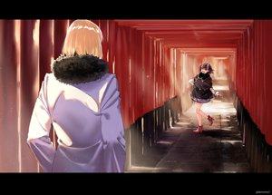 Rating: Safe Score: 20 Tags: black_hair blonde_hair dress fang fate/grand_order fate_(series) horns kerorira male sakata_kintoki_(fate) short_hair shuten_douji_(fate) torii watermark User: RyuZU