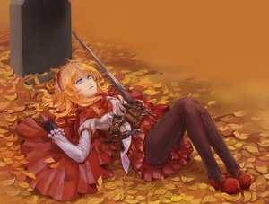 Rating: Safe Score: 105 Tags: autumn blonde_hair blue_eyes gloves headdress knife leaves little_red_riding_hood nemo_(leafnight) pantyhose red_riding_hood short_hair weapon User: FormX