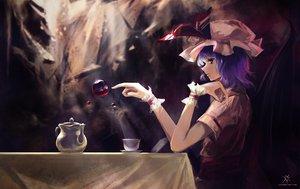 Rating: Safe Score: 119 Tags: drink hat jq purple_hair red_eyes remilia_scarlet short_hair touhou vampire User: Tensa