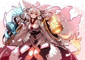Rating: Safe Score: 38 Tags: animal animal_ears fox foxgirl japanese_clothes kimono long_hair magic multiple_tails original red_eyes sketch tail white_hair yuuji_(yukimimi) User: otaku_emmy