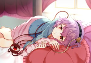 Rating: Safe Score: 44 Tags: barefoot bed chieezuik headband komeiji_satori purple_hair red_eyes short_hair skirt touhou User: mattiasc02