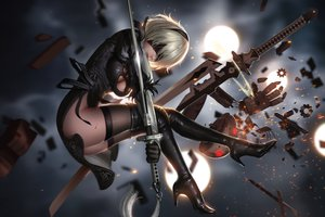 Rating: Safe Score: 128 Tags: blindfold blood dress gloves gray_hair liang_xing nier nier:_automata nopan realistic robot short_hair sword thighhighs weapon yorha_unit_no._2_type_b User: zoobezee