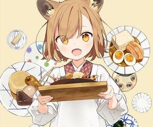 Rating: Safe Score: 78 Tags: animal_ears apron brown_hair cropped fang food japanese_clothes loli original sama short_hair yellow_eyes User: otaku_emmy