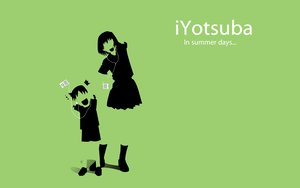 Rating: Safe Score: 10 Tags: ayase_fuuka green ipod koiwai_yotsuba polychromatic silhouette yotsubato! User: korokun