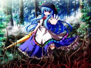 Rating: Safe Score: 21 Tags: akashio_(loli_ace) blue_hair dress forest hat hinanawi_tenshi kneehighs long_hair purple_eyes ribbons sword touhou tree weapon User: HawthorneKitty