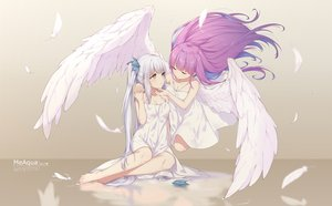 Rating: Safe Score: 222 Tags: 2girls angel barefoot bicolored_eyes breasts cleavage dress feathers hololive kagura_mea kagura_mea_channel long_hair minato_aqua neps-l purple_hair shoujo_ai summer_dress twintails white_hair wings User: BattlequeenYume