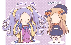 Rating: Safe Score: 33 Tags: 2girls abigail_williams_(fate/grand_order) blonde_hair bloomers bow cat_smile chibi chinese_clothes dress fate/grand_order fate_(series) hat long_hair mitarashi_neko purple_hair teddy_bear twintails waifu2x wu_zetian_(fate) User: otaku_emmy