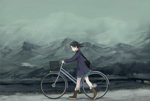 Rating: Safe Score: 98 Tags: aliasing bicycle black_hair boots landscape original polychromatic scenic skirt sody User: gnarf1975