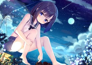 Rating: Safe Score: 58 Tags: barefoot black_hair blue_eyes clouds fuiba_fuyu gochuumon_wa_usagi_desu_ka? loli night panties school_uniform sky stars taku_michi umbrella underwear water wet User: BattlequeenYume