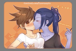 Rating: Safe Score: 23 Tags: 2girls atobesakunolove blue_hair blush brown_hair food hug kiss long_hair overwatch pocky ponytail short_hair shoujo_ai tracer transparent watermark windowmaker User: BattlequeenYume