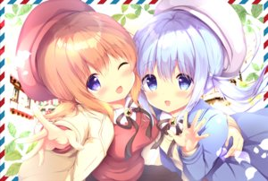 Rating: Safe Score: 40 Tags: 2girls amedamacon blue_eyes blue_hair blush brown_hair gochuumon_wa_usagi_desu_ka? hat hoto_cocoa kafuu_chino loli long_hair purple_eyes ribbons shirt skirt twintails User: 蕾咪