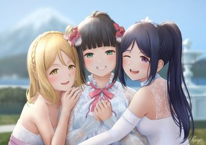 Rating: Safe Score: 87 Tags: black_hair blonde_hair blue_hair braids flowers green_eyes kurosawa_dia long_hair love_live!_school_idol_project love_live!_sunshine!! matsuura_kanan ohara_mari papi_(papiron100) ponytail purple_eyes short_hair signed wink yellow_eyes User: RyuZU