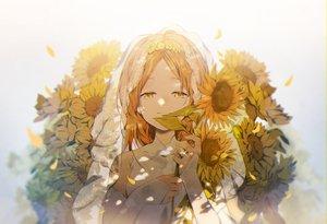 Rating: Safe Score: 49 Tags: brown_eyes flowers headdress omutatsu orange_hair original petals polychromatic sunflower User: RyuZU