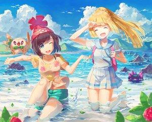 Rating: Safe Score: 72 Tags: 2girls aqua_eyes blonde_hair braids brown_hair clouds hat lillie_(pokemon) long_hair mizuki_(pokemon) nagakura_(seven_walkers) navel pokemon ponytail pyukumuku rowlet short_hair shorts skirt sky water wink User: RyuZU