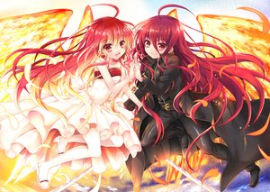 Rating: Safe Score: 125 Tags: dress feathers long_hair red_eyes red_hair shakugan_no_shana shana tachitsu_teto weapon wings User: RyuZU