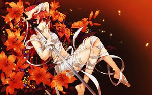 Rating: Safe Score: 188 Tags: bandage flowers katana long_hair navel nude orange red_eyes red_hair shakugan_no_shana shana sword weapon wentirtongmo User: Flandre93