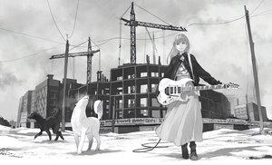 Rating: Safe Score: 57 Tags: animal boots building dog guitar industrial instrument long_hair monochrome original risa_hibiki skirt User: Flandre93