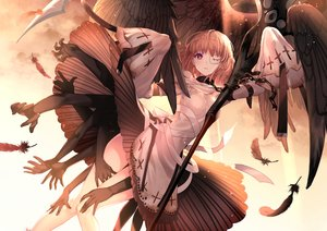 Rating: Safe Score: 129 Tags: aki663 chain dress eyepatch feathers forever_7th_capital scythe short_hair tagme_(character) weapon wings User: RyuZU