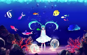 Rating: Safe Score: 76 Tags: animal aqua_eyes aqua_hair barefoot deep-sea_girl_(vocaloid) dress fish hatsune_miku twintails underwater vocaloid water yumeno_(rubbercup) User: STORM