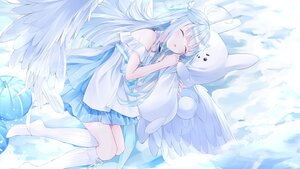 Rating: Safe Score: 44 Tags: aliasing amatsuka_uto amatsuka_uto_(channel) angel blue_eyes bunny clouds dress kneehighs long_hair nabi_(uz02) sky sleeping thighhighs wings User: BattlequeenYume