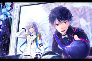 Rating: Safe Score: 12 Tags: all_male aqua_eyes black_hair bow gray_hair idolish7 male microphone mokoppe red_eyes short_hair tagme_(character) User: RyuZU