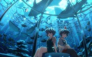 Rating: Safe Score: 94 Tags: 2girls animal blue_eyes blue_hair choker dj_max dress fish lady_made_star nina_klatt scenic seha_klatt short_hair twins underwater water wristwear yuuki_tatsuya User: atlantiza