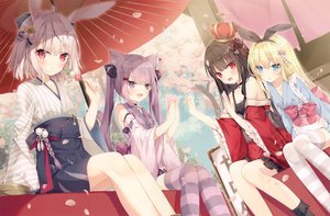Rating: Safe Score: 87 Tags: animal_ears aqua_eyes blonde_hair brown_hair bunny_ears catgirl cropped food group hoshi_(snacherubi) japanese_clothes long_hair original petals pink_eyes pink_hair red_eyes scan short_hair thighhighs tree twintails umbrella User: Nepcoheart