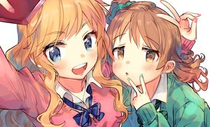 Rating: Safe Score: 34 Tags: 2girls blonde_hair blue_eyes bow brown_eyes brown_hair camera close idolmaster idolmaster_cinderella_girls long_hair morikubo_nono ootsuki_yui phone ponytail seifuku zuho_(vega) User: otaku_emmy