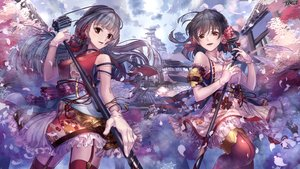 Rating: Safe Score: 30 Tags: 2girls black_hair brown_eyes building cherry_blossoms clouds flowers gloves japanese_clothes long_hair microphone short_hair sky stockings tagme_(artist) tagme_(character) thighhighs User: BattlequeenYume