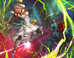 Rating: Safe Score: 87 Tags: aqua_eyes armor boots breasts cleavage dress elbow_gloves fate/apocrypha fate/grand_order fate_(series) frankenstein gloves headdress horns lancelot_(fate) magic male melon22 pink_hair short_hair spear weapon User: otaku_emmy
