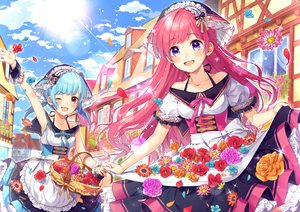 Rating: Safe Score: 62 Tags: 2girls apron aqua_hair bow brown_eyes building dress flowers headdress kuroki_(ma-na-tu) long_hair original petals pink_hair purple_eyes twintails wink User: FormX
