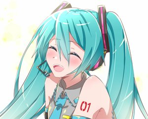 Rating: Safe Score: 16 Tags: aqua_hair blush close hatsune_miku long_hair microphone supo01 tattoo tie twintails vocaloid white User: RyuZU