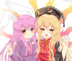 Rating: Safe Score: 38 Tags: 2girls aliasing animal_ears blonde_hair blush bunny_ears bunnygirl chinese_clothes close headdress hug junko long_hair orange_eyes purple_hair ramudia_(lamyun) red_eyes reisen_udongein_inaba signed suit tie touhou User: otaku_emmy