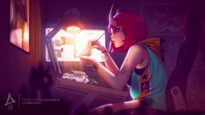 Rating: Safe Score: 23 Tags: computer dark erica_june_lahaie glasses hoodie horns original purple_eyes red_hair short_hair watermark wristwear User: otaku_emmy