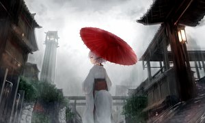 Rating: Safe Score: 85 Tags: braids building clouds gray_hair guo582 japanese_clothes kimono original purple_eyes rain sky tail umbrella water User: BattlequeenYume