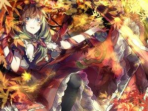 Rating: Safe Score: 56 Tags: autumn blue_eyes bow dress green_hair kagiyama_hina leaves long_hair ribbons saden_(magumo) touhou User: STORM