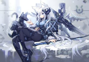 Rating: Safe Score: 82 Tags: animal_ears aqua_eyes long_hair mamuru original robot sword techgirl weapon white_hair User: RyuZU