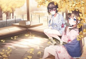 Rating: Safe Score: 86 Tags: a20_(atsumaru) autumn blue_eyes brown_hair japanese_clothes leaves long_hair onsen original red_eyes short_hair tree water yukata User: BattlequeenYume