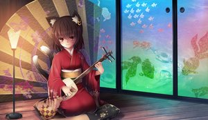 Rating: Safe Score: 42 Tags: animal_ears brown_hair catgirl chen hotto_kakigōri instrument japanese_clothes kimono multiple_tails red_eyes short_hair tail touhou User: luckyluna